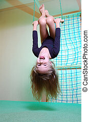criança, dela, lar, esportes, ginásio, Balançando