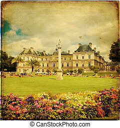 Paris - The beautiful view of the Luxembourg Gardens in...