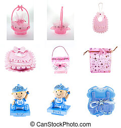 baby girl souvenir, Small pink plastic bag, Cute baby boy...