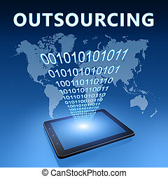 Outsourcing illustration with tablet computer on blue...