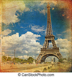 The Eiffel Tower in Paris in vintage style