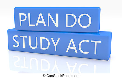 Plan Do Study Act - 3d render blue box with text Plan Do...