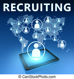 Recruiting illustration with tablet computer on blue...