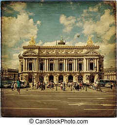 View of the Opera National de Paris Garnier in vintage...
