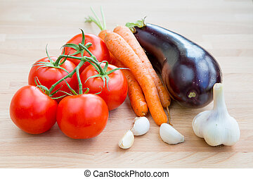 Fresh vegetables organic food set still life with eggplant,...