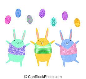 Easter Bunnies Juggling Eggs
