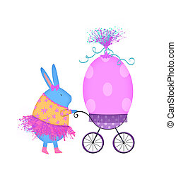 Easter Bunny in a Pink Tutu Pushing an Egg in a Baby...