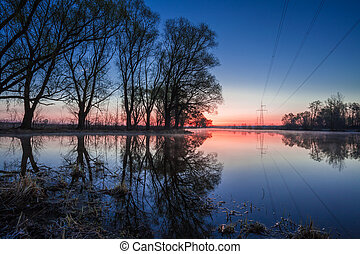 Landscape with Power Line on sunset. - Landscape with Power...