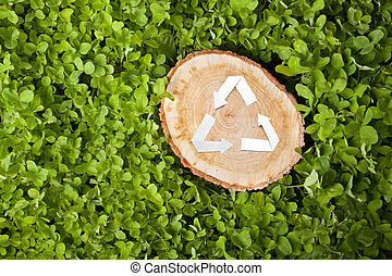 wooden cut on grass and recycle symbol