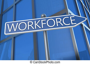 Workforce - illustration with street sign in front of office...