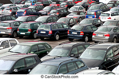 Many cars on a parking lot - Many cars on a German parking...