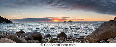 Porth Nanven Cove - Sunset at Porth Nanven Cove near Lands...