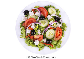 Fresh healthy salad on white background. View from above.