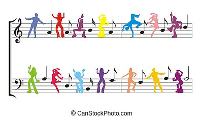 dancer color silhouette with notes