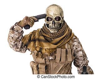 el suyo, Señalar, arma de fuego, unrecognizable, cabeza,...