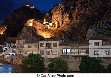 Ottoman houses in Amasya - Night picture of traditional...