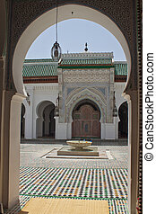 View of a mosque courtyard in Fez, Morocco
