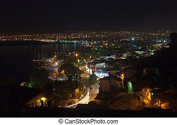 Aerial view of Fethiye at night