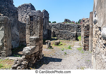 Ruins of ancient city Pompeii, destroyed by vulcanic...