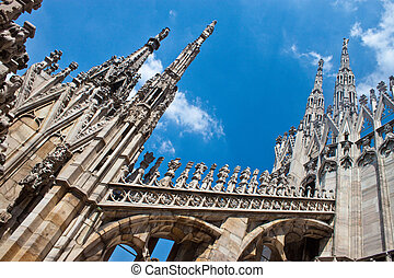 Detail of gothic cathedral of Milan