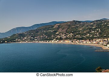 Aerial view of a coast in Agropoli