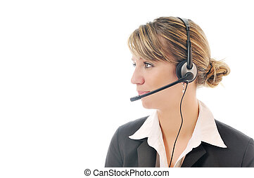 isolated business woman with headset - one young business...