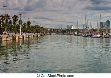 View of a harbor in Barcelona, Spain
