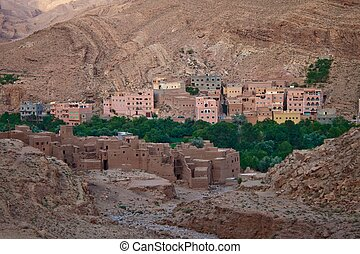 View of village in Todra Gorges, Morocco