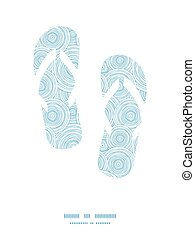 Vector doodle circle water texture flip flops silhouettes...