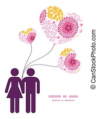 Vector pink field flowers couple in love silhouettes frame pattern invitation greeting card template