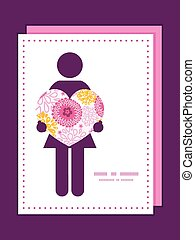 Vector pink field flowers woman in love silhouette frame pattern invitation greeting card template