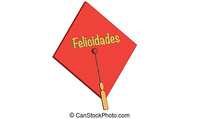Felicidades grad red - Spanish congratulations mortar board