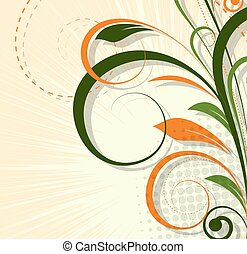 Abstract Flourish Background - Abstract Decorative Swirl...