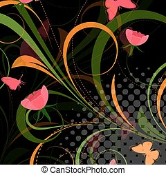 Valentine Flourish Background - Abstract Decorative Swirl...