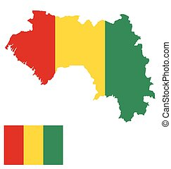 Guinea Flag - Flag of the Republic of Guinea overlaid on...