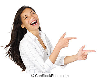 Woman pointing laughing - Laughing woman in white pointing...