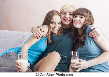 Three Caucasian Young Ladies With Dental Bracket System...