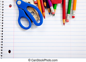 Assorted school supplies with notebooks - Assorted school...
