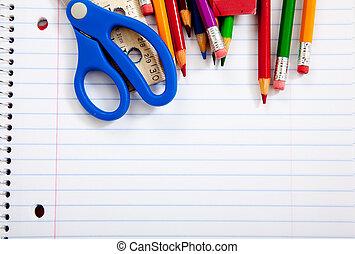 variado, escuela, Suministros, cuadernos