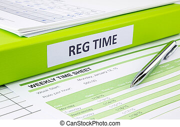 Blank weekly time sheets for recording - Regular time word...