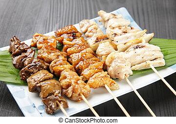 Japanese chicken BBQ yakitori - studio shot of Japanese...
