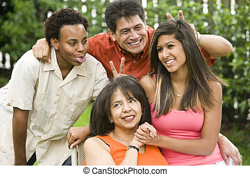 interracial, familia, retrato