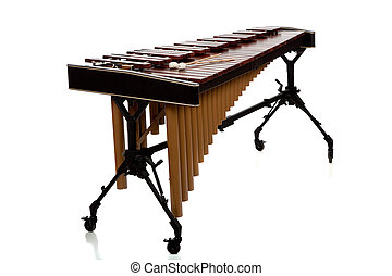 Marimba on White - A marimba on white with mallets and copy...