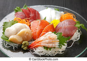 sashimi - close up shot of typical Japanese food sashimi