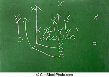Fooball play Diagram on Chalkboard - An American football...