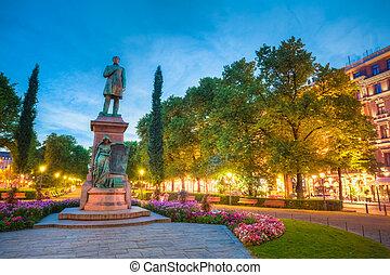 Esplanade Park. Statue Of Johan Ludvig Runeberg in Helsinki,...
