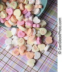 Candy Conversational Hearts - Cup overflowing, with candy...