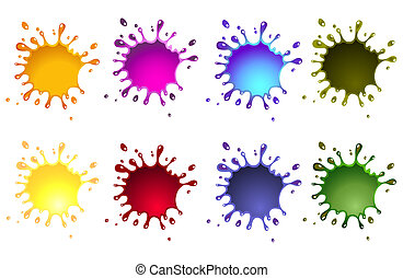 ink splash, various colors