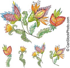 collection exotic abstract flowers for your design. watercolor p