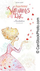 Beautiful watercolor greeting card with fashion girl. Valentine'
